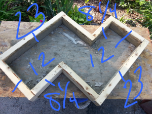 The measurements for the top made out of a 2x4