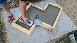 If you choose to make a smooth top, use a float or concrete tool to smooth and/or a putty knife