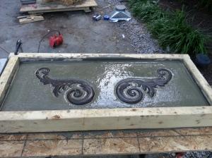 concrete garden bench top