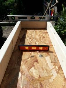 You can use the garage floor, driveway, or a board for the concrete molds. Just put down a plastic sheet