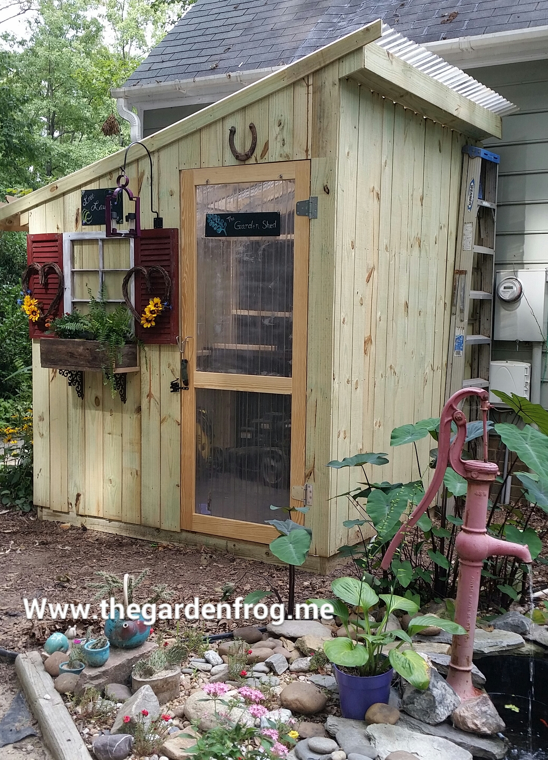My 300 rustic picket garden shed the garden frog for Shed project