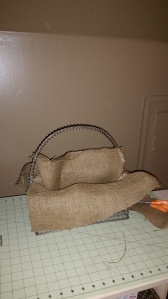Cut pieces of scrap burlap