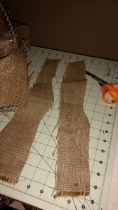 I had 2 strips of burlap and I just could not throw them away