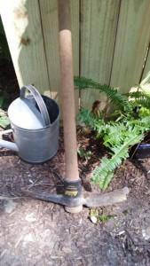 pick ax, garden tools