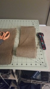 "I cut about 4"" strips of burlap for the ribbon and one for the bow"