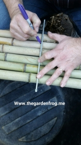 Line up the rod and mark to drill through each bamboo piece