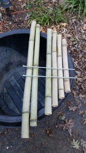 Cut down and let some bamboo dry for a couple months. then I cut them to straddle the barrel I was going to use and stagger the cuts- no real measurements