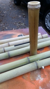 Now we took the right  upright and marked it to drill through and then connected the rest of bamboo
