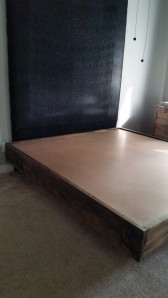 """2 layer of plywood-cheap roofing/flooring OSB sheets for less than $15 each and then you see the 1/4"""" at Home Depot for less than $9 a sheet pressed hardboard which works great for protecting the mattress from the pressed board plywood"""