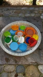 milk jug lid craft, soda lid craft, ornament lid