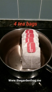 4 family size tea bags and be sure to remove the tags before placing in water and boiling