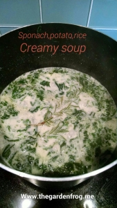 Creamy spinach, rice, portato soup with Coffeemate and Kerr's chicken bouillon