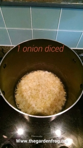 Onions are clear and the butter is just starting to darken. Stir frequently and this is now ready for water