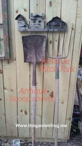 pitch fork, scoop shovel, antique pitch fork, antique scoop shovel, garden tools