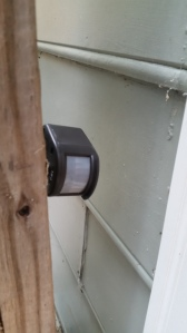 The sensor is pointing parallel to the doggy door about foot off the deck floor