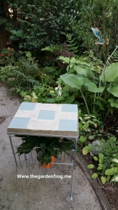 concrete top on wire magazine table,